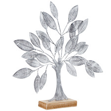 Distressed Grey Shabby Tree Decorative Accent