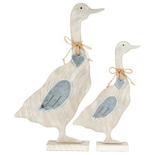 2 Piece Shabby Mum & Child Duck Ornament Set