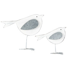 2 Piece White Shabby Mum & Child Bird Ornament Set