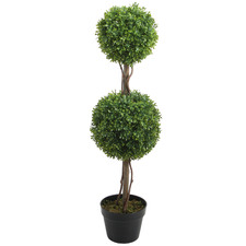 90cm Potted Faux Double Ball Boxwood Topiary