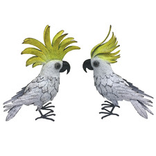 2 Piece Distressed White Decorative Cockatoo Set
