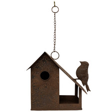 Rust Hanging Metal Birdhouse