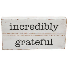 Distressed White Incredibly Grateful Wall Sign