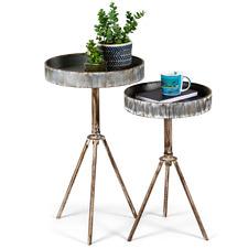2 Piece Galvanised Metal Side Table Set