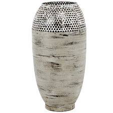 Distressed Grey Hole-Punched Metal Vase
