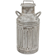 Whitewash Vintage-Style Metal Decorative Churn