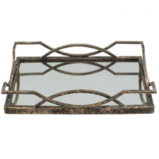 Distressed Gold Art Deco Mirrored Tray