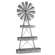 Silver Windmill 3 Tier Metal Planter