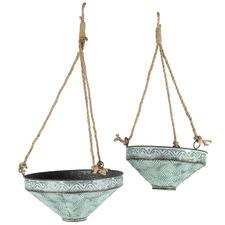 2 Piece Galvanised Metal Hanging Planter Set