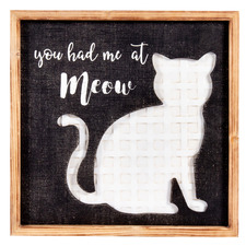 Carved Cat Meow Wooden Wall Art