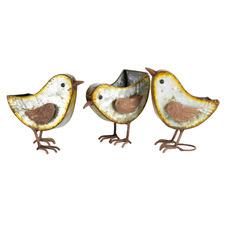 3 Piece Rust Bird Planter Set