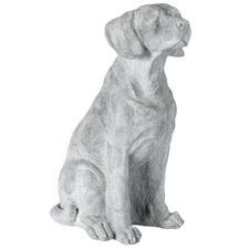 Grey Sitting Dog Statue