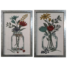 2 Piece Flowers In Jar Framed Wooden Wall Art Set