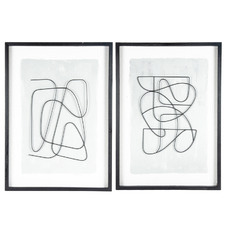 2 Piece Abstract Dancing Line Framed Wall Art Set