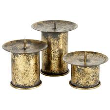 3 Piece Vintage-Style Pillar Candle Holder Set