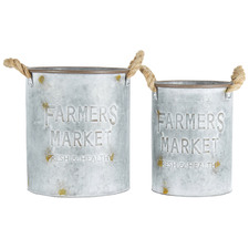 2 Piece Round Farmers Market Metal Bucket Planter Set