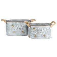 2 Piece Oval Farmers Market Metal Bucket Planter Set