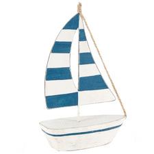 Striped Sailboat Metal & Wood Figurine