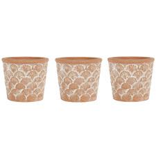 3 Piece Brushed Terracotta Pot Planter Set