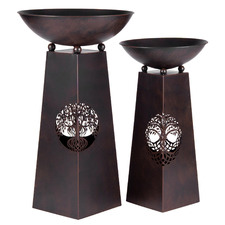 2 Piece Tree Of Life Fire Bowl Metal Planters