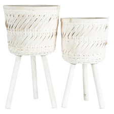 2 Piece Hand-Crafted Bamboo Footed Planters Set