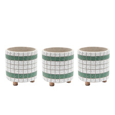 Green Bricks Footed Planters (Set of 3)