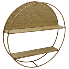 Round Woven Reed Floating Shelf