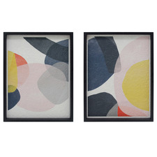 2 Piece Abstract Bubble Framed Printed Wall Art Diptych