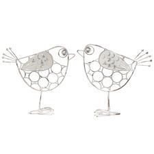2 Piece White Bird Couple Ornament Set