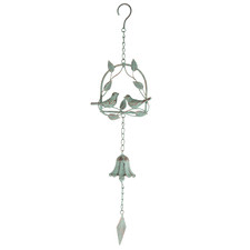 Lovebirds On Leafy Swing Wind Chime