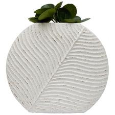 White Curved Textured Vase