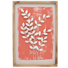 Coral & White Full Leaf Framed Wall Accent