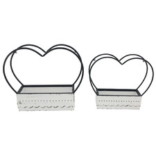 2 Piece French Cottage Heart Wall Planter Set