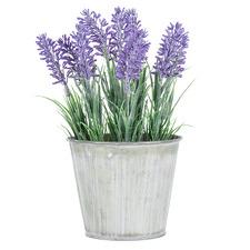24cm Faux Lavender in Distressed Tin Pot
