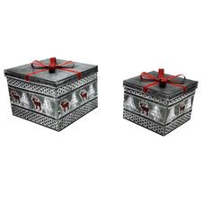 2 Piece Reindeer Tin Box Set