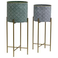 2 Piece Stilted Fan Metal Planter Set