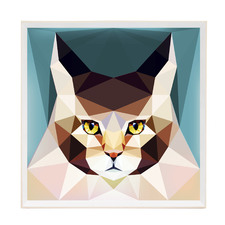 Geo Feline Framed Printed Wall Art