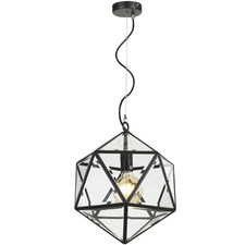 Black Prizma Iron & Glass Pendant Light