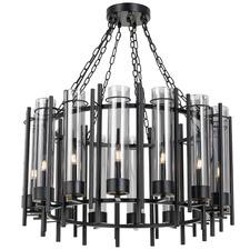 Svika 14 Light Iron & Glass Chandelier