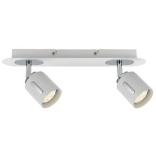 White Burton 2 Light Metal Spotlight