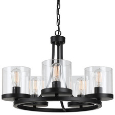 Largo 5 Light Metal & Glass Pendant