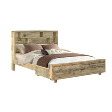 Rayhaan Reclaimed Wood Bed with Bookcase & Drawers