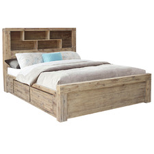 Annabelle Acacia Wood Bed with Bookcase & 4 Drawers