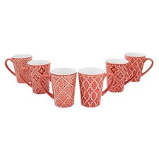 6 Piece Red Lisbon Mug Set