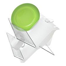 Chrome & White Folding Dish Rack