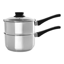 2 Piece Basics Silver Stainless Steel Saucepan & Steamer Set