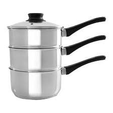 3 Piece Basics Silver Stainless Steel Saucepan & Steamer Set