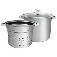 2 Piece Silver 7L Pasta Pot & Strainer Set