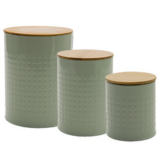 3 Piece Steel Canister with Lid Set