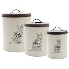 3 Piece Pet Corner Cat Food Storage Tin Set